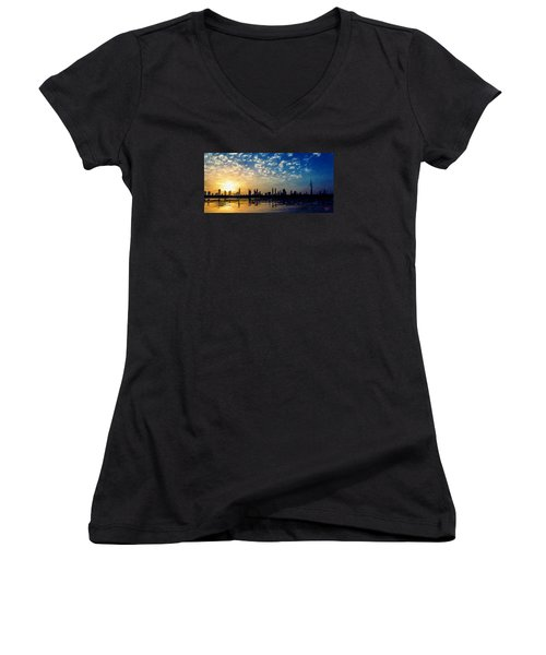 Women's V-Neck T-Shirt (Junior Cut) featuring the painting Skyline by James Shepherd