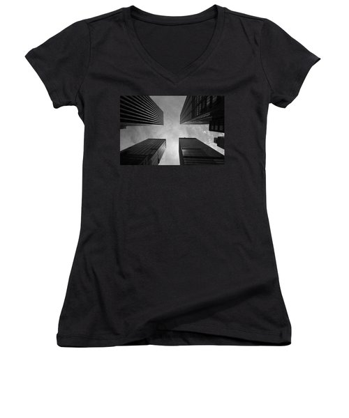 Skyscraper Intersection Women's V-Neck T-Shirt