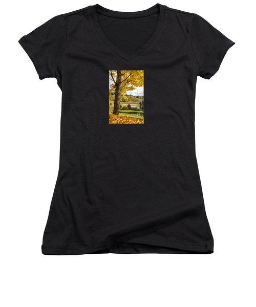 Women's V-Neck T-Shirt (Junior Cut) featuring the photograph Sleep Hollow Farm Woodstock Vt by Betty Denise