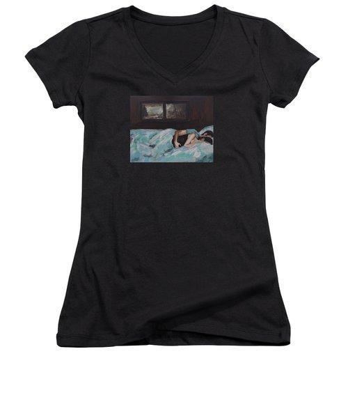 Sleeping In Women's V-Neck T-Shirt