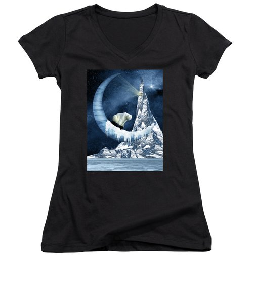 Sliding On The Moon Women's V-Neck T-Shirt