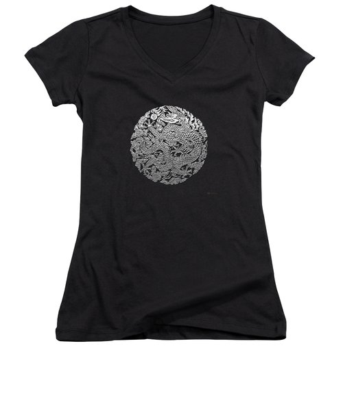 Sliver Chinese Dragon On Black Leather Women's V-Neck T-Shirt (Junior Cut) by Serge Averbukh