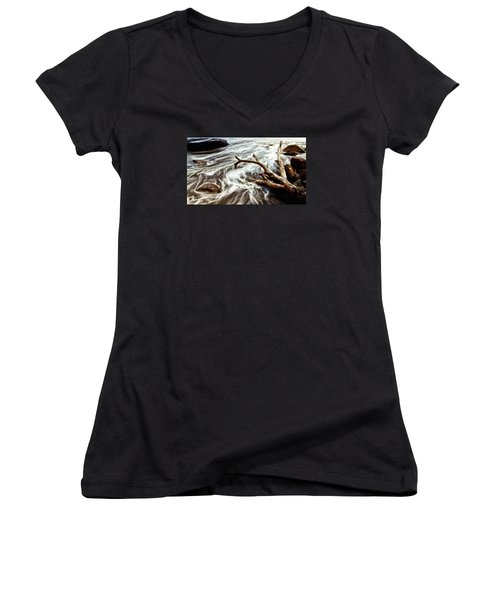 Women's V-Neck T-Shirt (Junior Cut) featuring the photograph Slow Motion Sea by Cameron Wood