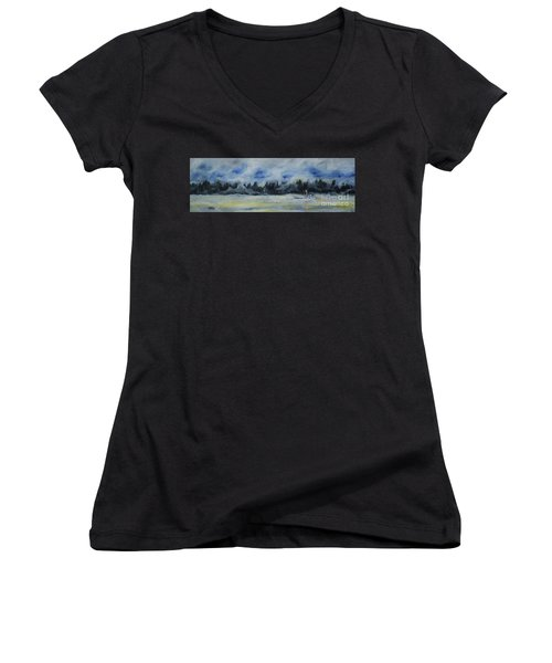 Women's V-Neck T-Shirt (Junior Cut) featuring the painting Slow Sail Home by Cynthia Lagoudakis