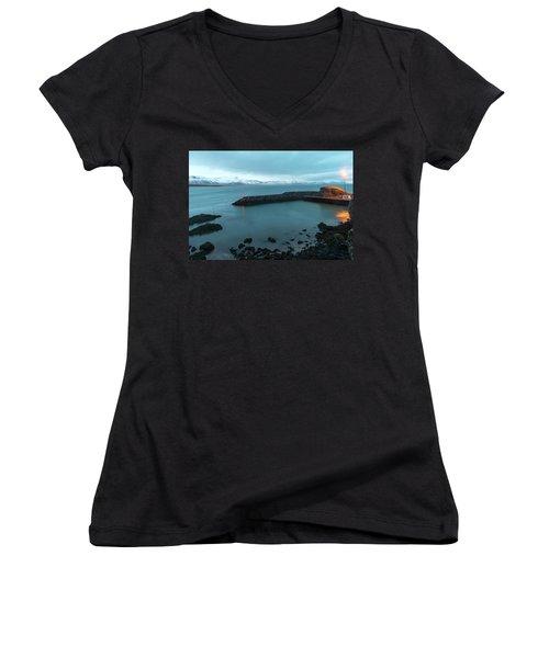 Women's V-Neck T-Shirt featuring the photograph Small Port Near Snaefellsjokull Mountain, Iceland by Dubi Roman
