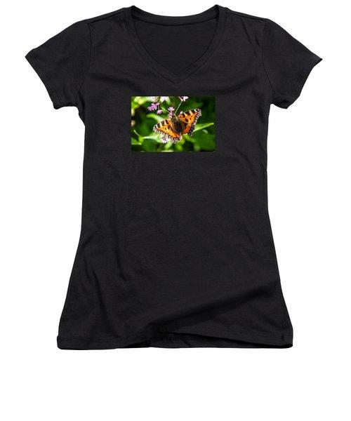 Small Tortoiseshell Women's V-Neck T-Shirt (Junior Cut) by Martina Fagan