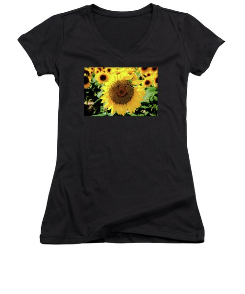 Women's V-Neck T-Shirt (Junior Cut) featuring the photograph Smile by Greg Fortier