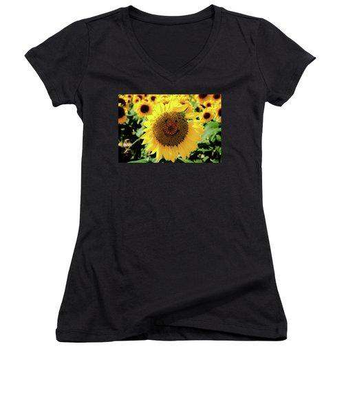 Smile Women's V-Neck T-Shirt (Junior Cut) by Greg Fortier