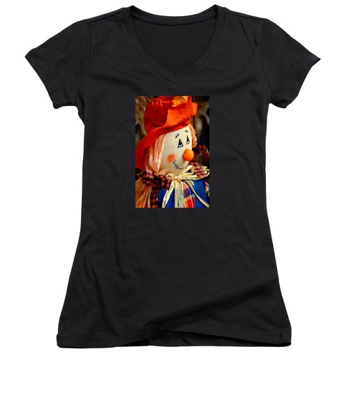 Women's V-Neck T-Shirt (Junior Cut) featuring the photograph Smiling Face 2 by Julie Palencia