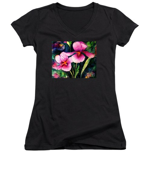 Smiling Iris Faces  Women's V-Neck (Athletic Fit)