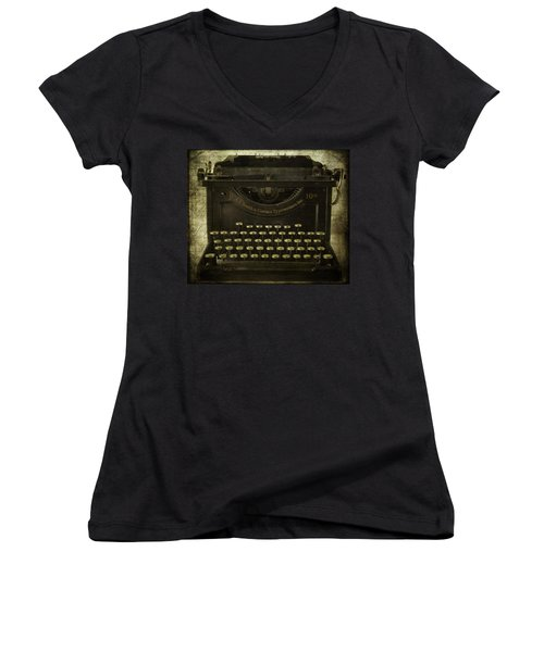 Smith And Corona Typewriter Women's V-Neck (Athletic Fit)