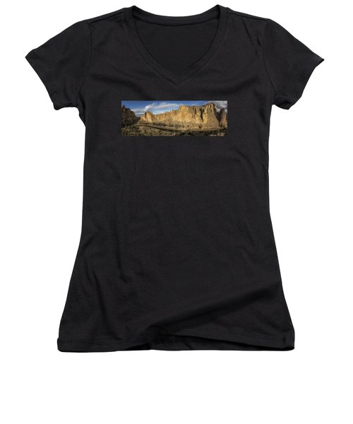 Smith Rock And Crooked River Panorama Women's V-Neck