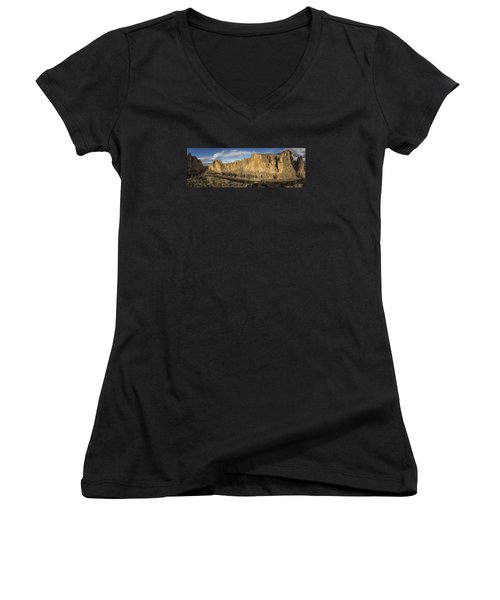 Smith Rock And Crooked River Panorama Women's V-Neck (Athletic Fit)