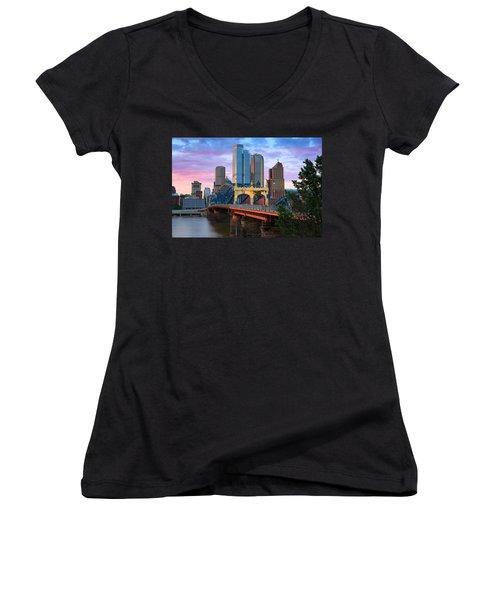 Smithfield Street Bridge Women's V-Neck T-Shirt (Junior Cut) by Emmanuel Panagiotakis