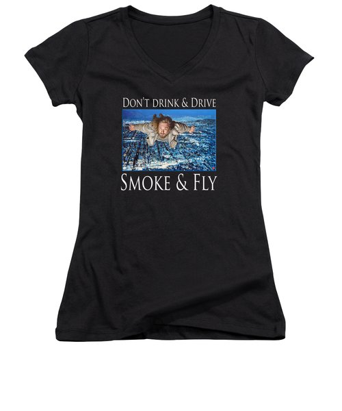 Smoke And Fly Women's V-Neck T-Shirt (Junior Cut) by Tom Roderick