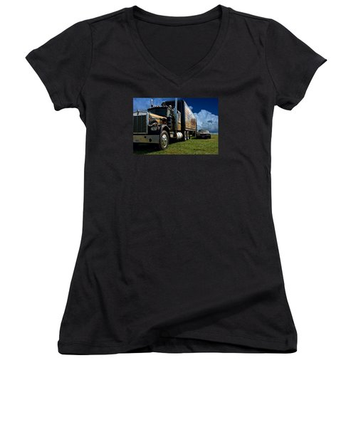 Smokey And The Bandit Tribute 1973 Kenworth W900 Black And Gold Semi Truck And The Bandit Transam Women's V-Neck