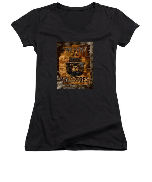 Smokey The Bear Only You Can Prevent Wild Fires Women's V-Neck T-Shirt (Junior Cut)