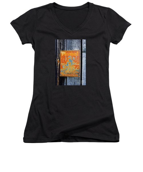Women's V-Neck T-Shirt (Junior Cut) featuring the photograph Smokey The Bear by Paul Mashburn