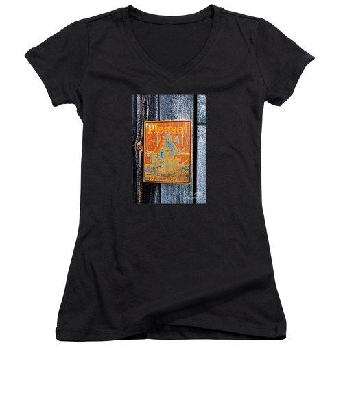 Smokey The Bear Women's V-Neck T-Shirt (Junior Cut) by Paul Mashburn
