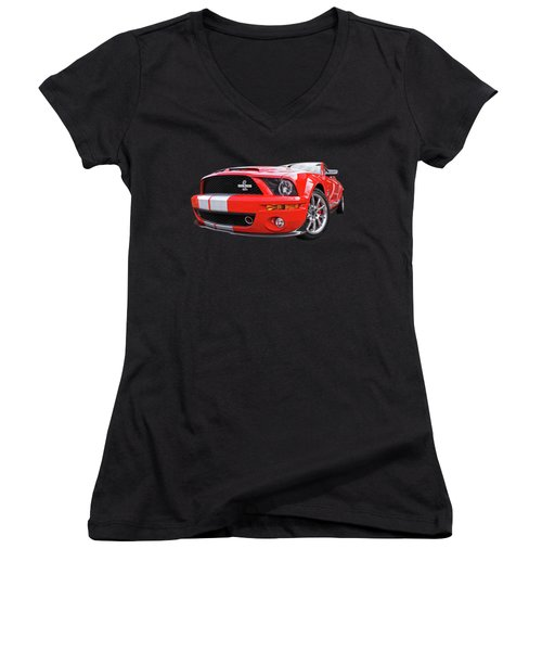 Smokin' Cobra Power - Shelby Kr Women's V-Neck T-Shirt (Junior Cut) by Gill Billington
