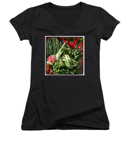 Women's V-Neck featuring the photograph Snake Beans. At The Surin Elephant by Mr Photojimsf
