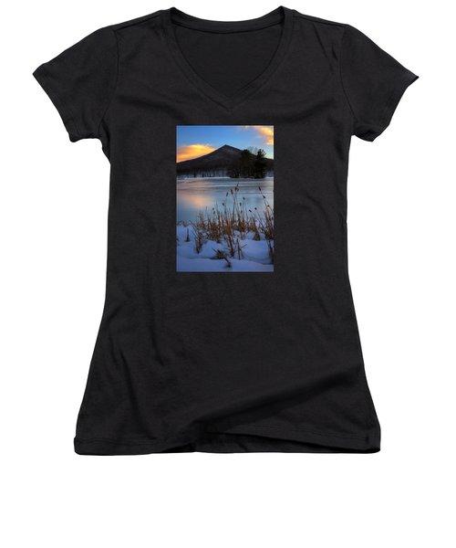 Snow At The Peaks Women's V-Neck T-Shirt (Junior Cut) by Steve Hurt