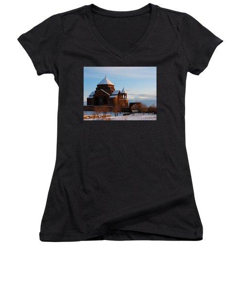 Snow Capped St. Hripsipe Church At Winter, Armenia Women's V-Neck T-Shirt (Junior Cut) by Gurgen Bakhshetsyan