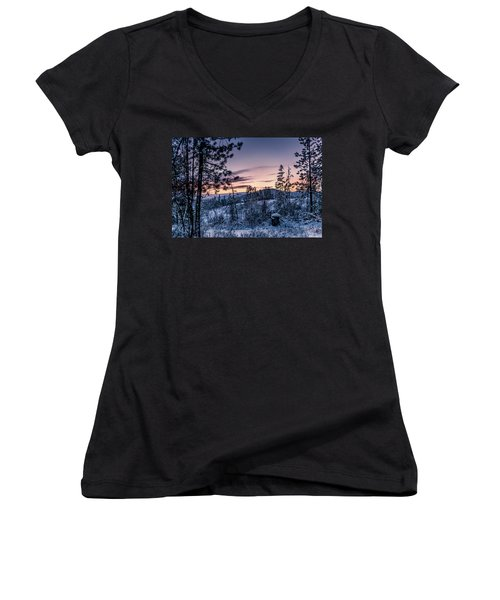 Snow Coved Trees And Sunset Women's V-Neck