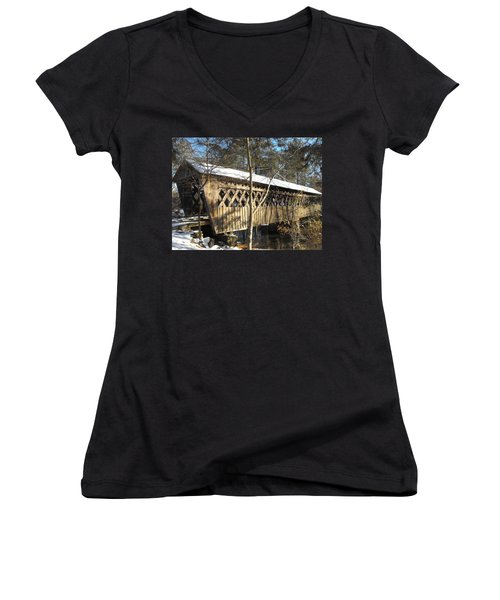 Snow Covered Bridge Women's V-Neck (Athletic Fit)