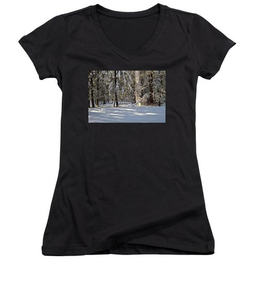 Snow Falling Off Cedars Women's V-Neck