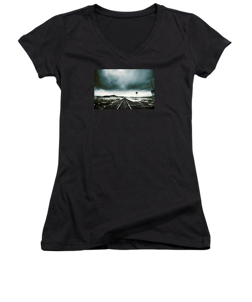 Women's V-Neck T-Shirt featuring the photograph Snow Railway by Jorgo Photography - Wall Art Gallery