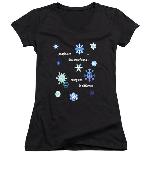 Snowflakes 4 Women's V-Neck T-Shirt (Junior Cut) by Methune Hively