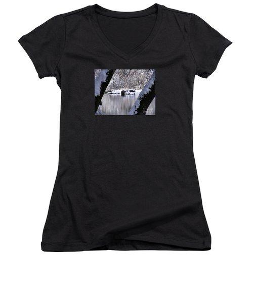 Snowy Bear River Women's V-Neck T-Shirt