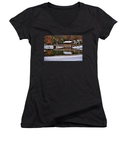 Snowy Bridge Women's V-Neck T-Shirt