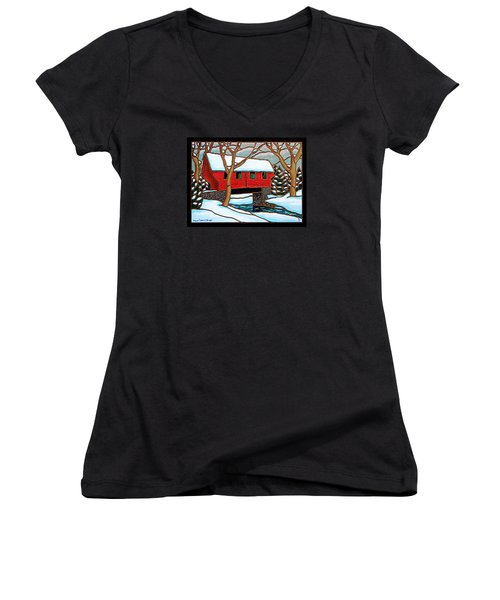Snowy Covered Bridge Women's V-Neck (Athletic Fit)