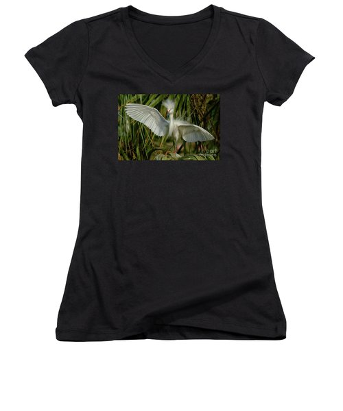 Snowy Egret In The Trees Women's V-Neck (Athletic Fit)