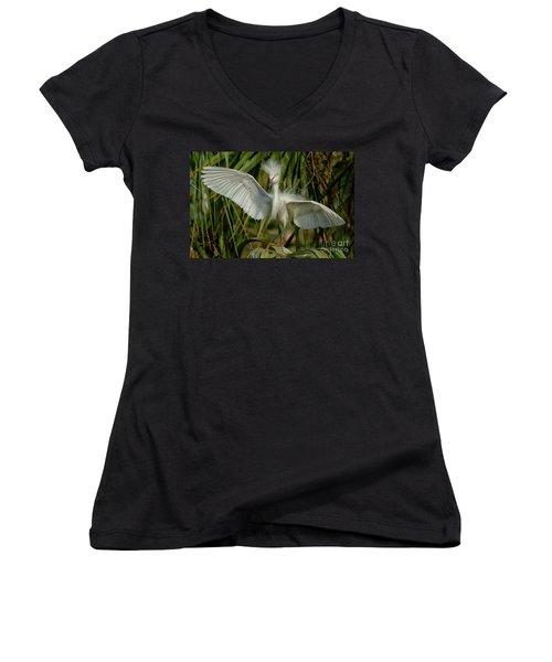 Snowy Egret In The Trees Women's V-Neck T-Shirt