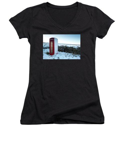 Snowy Telephone Box Women's V-Neck T-Shirt (Junior Cut) by Helen Northcott