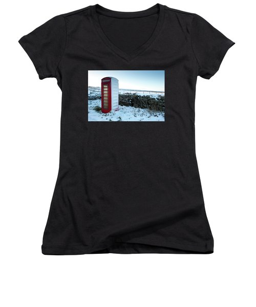 Snowy Telephone Box Women's V-Neck (Athletic Fit)