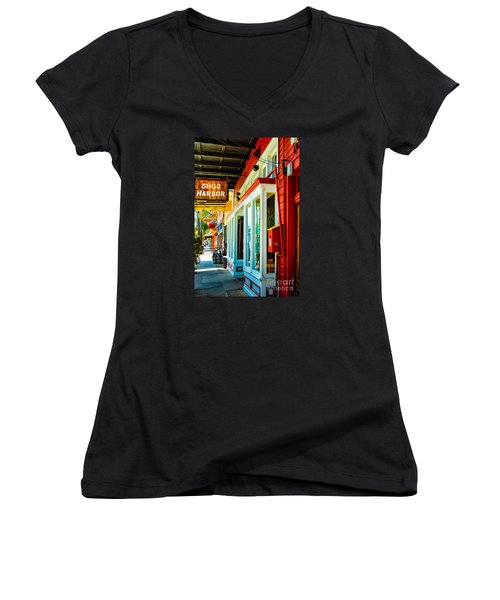 Snug Harbor Jazz Bistro- Nola Women's V-Neck T-Shirt (Junior Cut) by Kathleen K Parker