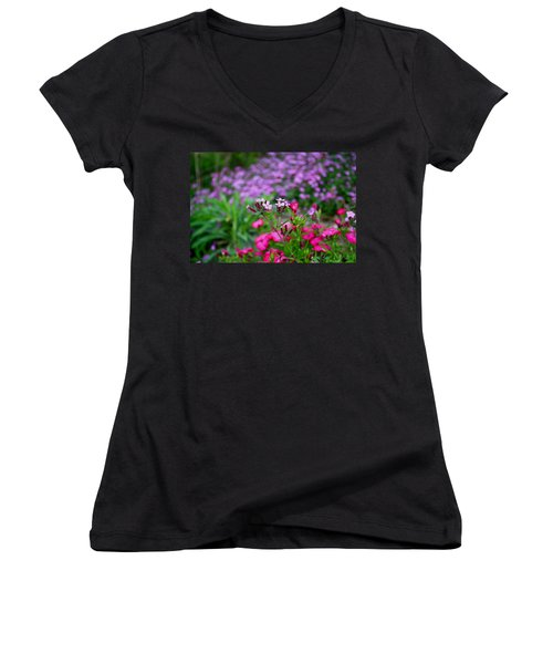 Women's V-Neck T-Shirt (Junior Cut) featuring the photograph Soapwort And Pinks by Kathryn Meyer