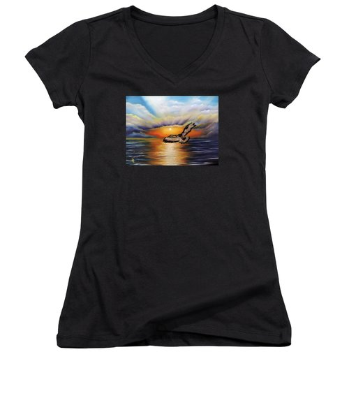 Women's V-Neck T-Shirt (Junior Cut) featuring the painting Soaring High by Dianna Lewis
