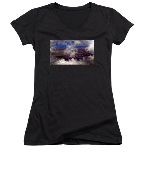 Soaring Through The Clouds Women's V-Neck