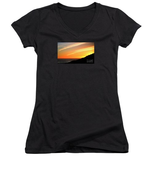 Women's V-Neck T-Shirt (Junior Cut) featuring the photograph Socal Sunet by Clayton Bruster