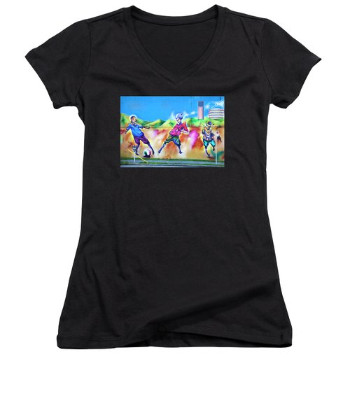 Soccer Graffiti Women's V-Neck T-Shirt (Junior Cut) by Theresa Tahara