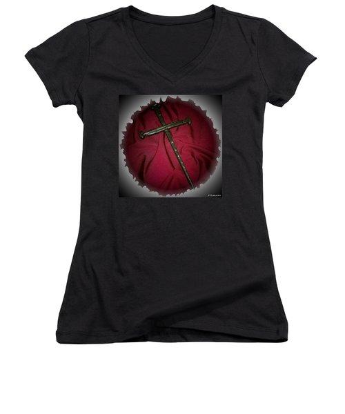 Women's V-Neck T-Shirt (Junior Cut) featuring the photograph Soft Landing by Betty Northcutt