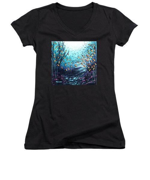 Soldier Fish And Coral  Women's V-Neck T-Shirt (Junior Cut)