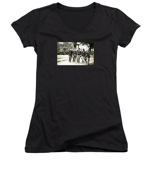 Soldiers Marching In Parade Women's V-Neck T-Shirt (Junior Cut) by Rena Trepanier