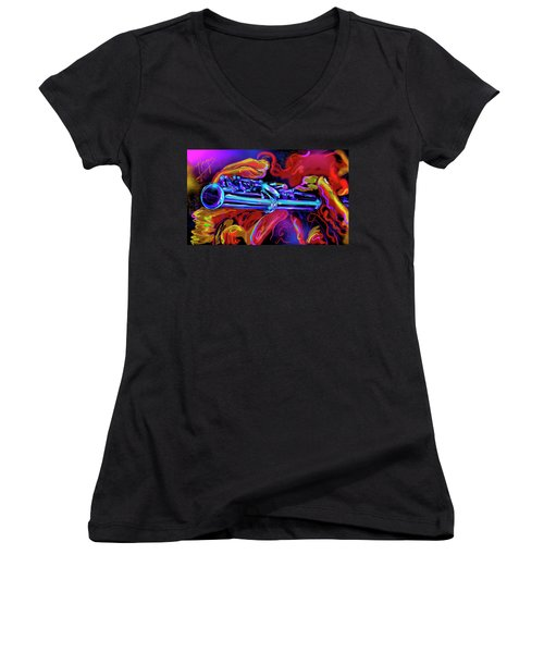 Solid Silver Women's V-Neck