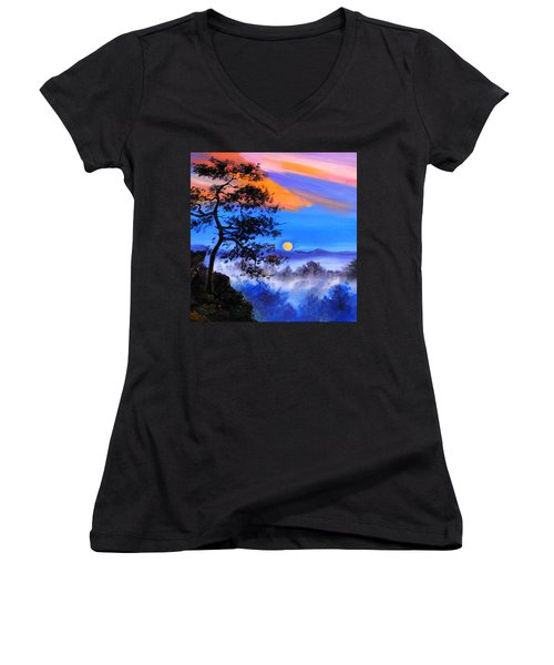 Women's V-Neck T-Shirt (Junior Cut) featuring the painting Solitude by Karen Showell